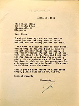 Jo Stafford Autograph   Signed Typed Letter on Letterhead   Dated