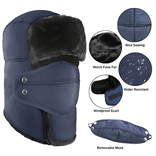 YESURPRISE Trapper Warm Russian Trooper Fur Earflap Winter Skiing Hat Cap Women Men Windproof (BL) from YESURPRISE