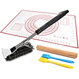 """18'' BBQ Grill Brush Woven Wire 3 in 1 Stainless Steel with Scraper + 11.8"""" Natural Beech Wood Rolling Pin + Pastry Mat , Barbecue Cooking Brush for Weber Gas/Charcoal Grill Silicone Kitchenware Set"""