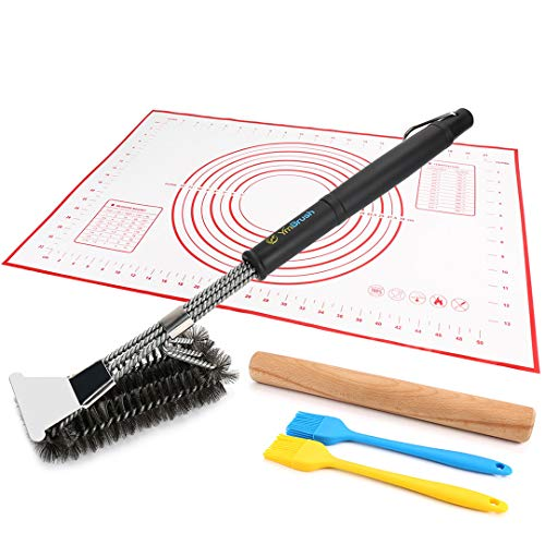 18'' BBQ Grill Brush Woven Wire 3 in 1 Stainless Steel with Scraper + 11.8