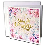 3dRose Uta Naumann Sayings and Typography - Artprint Flower Frame with Gold Letter Typography - You Complete Me - 12 Greeting Cards with envelopes (gc_289814_2)