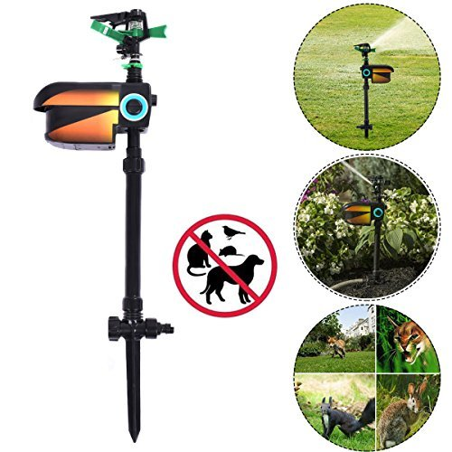 New black Solar Powered Motion Activated Animal Repellent ()