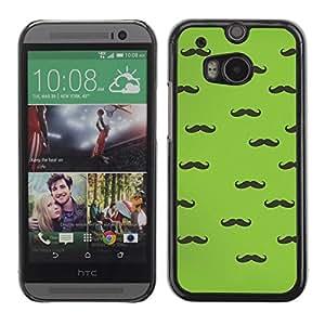 FECELL CITY // Duro Aluminio Pegatina PC Caso decorativo Funda Carcasa de Protección para HTC One M8 // Handlebar Moustache Green Black Hipster