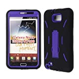 DOUBLE LAYER COVER HARD SOFT SHIELD KICKSTAND CASE FOR SAMSUNG GALAXY NOTE 1 I717 BLACK PURPLE SC-AA-001G
