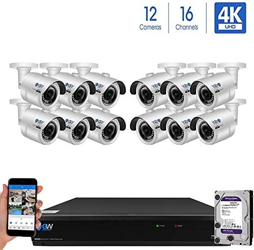 GW 16 Channel H.265 PoE NVR Ultra-HD 4K 3840×2160 Security Camera System with 12 x 4K 8MP 2160p IP Camera, 100ft Night Vision, Outdoor Indoor Surveillance Camera