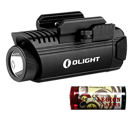 OLIGHT PL-1 II Valkyrie Generation 2, 450 Lumen Cree LED Pistol Light with Mount for Glock and 1913 with LegionArms CR123A lithium battery PL1 II (PL-1 II with CR123A -