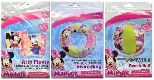 Disney Minnie Mouse Bow-tique Inflatable 3-piece Swim Set Swim Ring, Beach Ball and Floaties