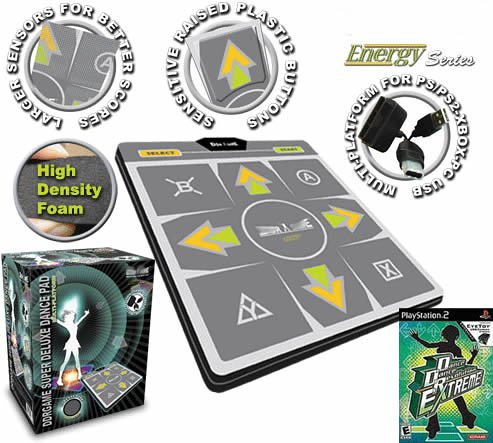 (DDR Multi-Platform Super Sensors Energy Super Deluxe Dance Pad with DDR Game Extreme (only for PS2))