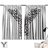 Jinguizi Letter Y Darkening/Blackout Symbol of The Y Letter in The Form of Monochrome Soccer Balls Graphic Design Room Darkening Curtains Black and White W72 x L45