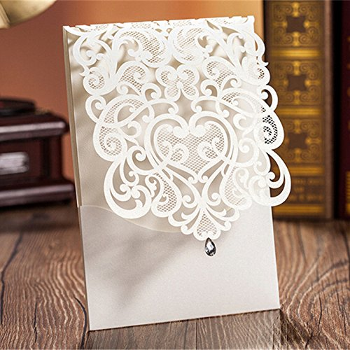 Hollow White Wedding Invitations Elegant Laser Cut Birthday Party Banquet Celebration Cardstock with Rhinestone CW5001 (100) by Wishmade (Image #1)