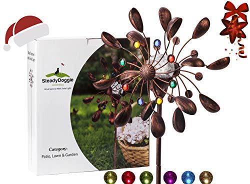 & Outdoors Solar Wind Spinner New 75in Jewel Cup Multi-Color Seasonal LED Lighting Solar Powered Glass Ball with Kinetic Wind Spinner Dual Direction for Patio Lawn & Garden ()