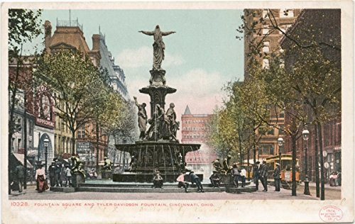 Vintage Postcard Print | Fountain Square and Tyler-Davidson Fountain, Cincinnati, Ohio, 1898 | Historical Antique Fine Art ()