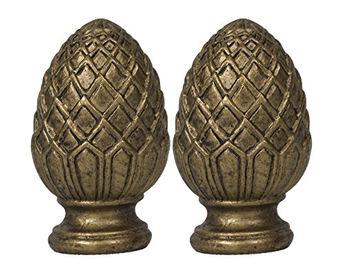 [Urbanest Set of 2 Pineapple Lamp Finials, 2-inch Tall, Antique Gold] (Gold Finial)