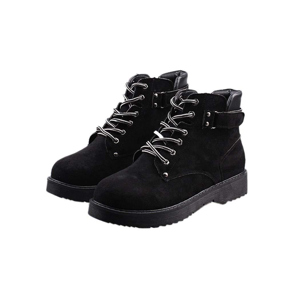 YMFIE Damen Martin Stiefel Modische Comfort-Ankle Stiefel mit kurzen Ärmeln