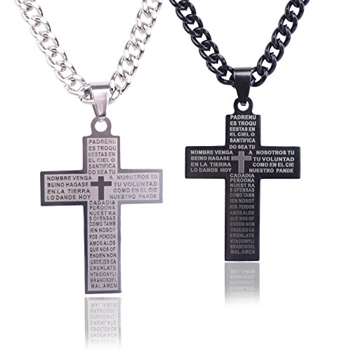 PCS Surgical Stainless Steel Silver Black Lord's Prayer Cross Pendant Chain Necklace Set for Men Women 24'' (Silver + Black) (24' Necklace Silver Set)
