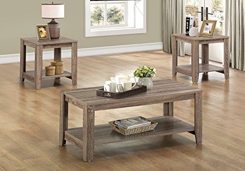 (Monarch Specialties 3-Piece Coffee Table Set with Shelves, Rectangle, Dark Taupe)
