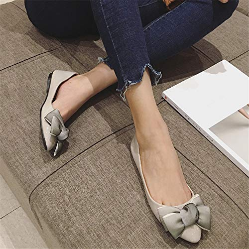single women shoes bow pointed ladies pregnant shoes sweet patent work shallow EU flat mouth leather 35 European shoes FLYRCX shoes FvqO11