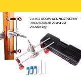 Signstek Wood Chisel Mortise Lock Set, Mortice Door Fitting Jigs, Lock Mortiser with 3 Cutters