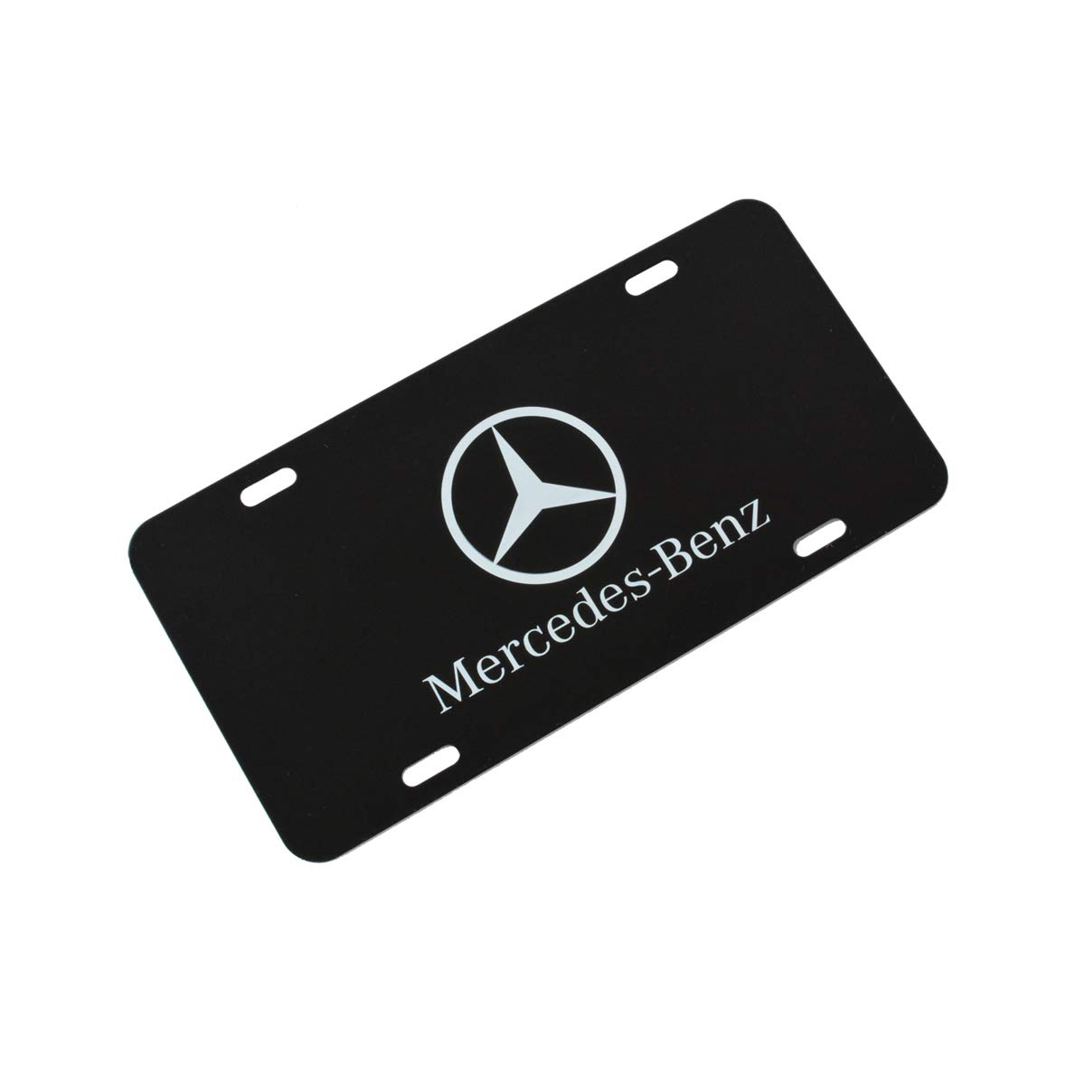 Mercedes Benz Logo Black Stainless Steel Front License Plate with Caps CLA CLS C E S SL SLK GL DIY Logo