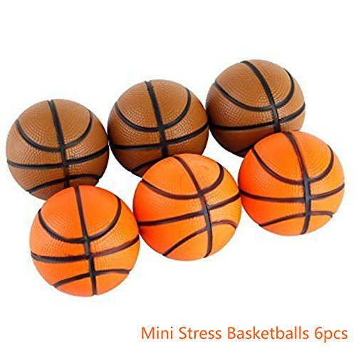 "Mini Stress Ball Toys 6pcs Foam Basketball 2.5"" Relaxable Stress Relief Squeeze Balls"