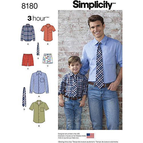 Simplicity 8180 Boys' and Men's Shirt, Boxer Shorts and Tie, A (S-L/S-XL)