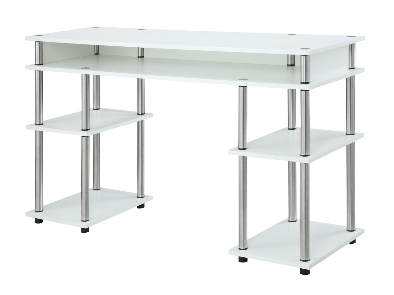 Convenience Concepts Modern No Tools Student Desk, White by Convenience Concepts