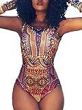 TOB Women's Sexy African Dashiki Boho One Piece Swimsuit Bathing Suit Sports Beige
