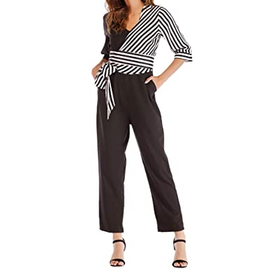 cc18917b70e4 Amazon.com  TIMEMEANS Jumpsuit Womens Fashion Striped Bow Bandage Patchwork  Pencil Overall  Clothing