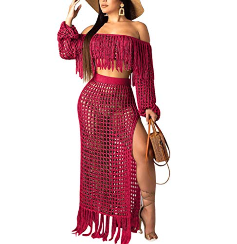 (Women Two Piece Skirt Set - Tassel Hollow Out Off Shoulder High Split Cover Up Bikini Beach Dresses (Wine Red, S))
