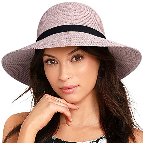 Top Hat Fashion - FURTALK Women Wide Brim Sun Hat Summer Beach Cap UPF50 UV Packable Straw Hat for Travel (Large Size (22.8''-23''), Adult NormalBrim New-Pink)