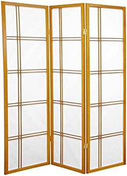 5.5-Feet Open Lattice Bottom Fabric Shade Folding Floor Screen Partition 4 Panel Distressed White Oriental Furniture Fine Quality Room Divider