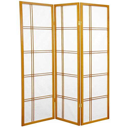 ORIENTAL FURNITURE 5 ft. Tall Double Cross Shoji Screen - Honey - 3 Panels