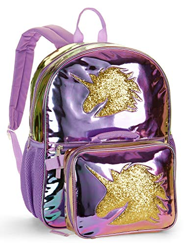 Two Piece Unicorn Metallic Backpack with Lunch ()