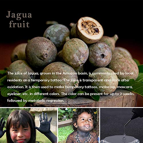 Jagua Tattoo Gel Temporary Tattoos Kit Semi Permanent Simulated Real Tattoo Color Fake Freckles(Organic Jagua Fruit Based) with Special Design Tattoo Stencils,DIY Tattoos Kit 2 Bottle (Brown2)