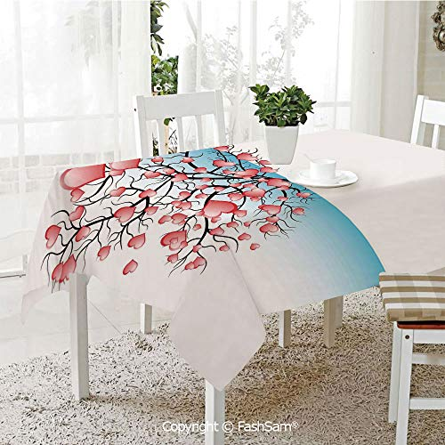 AmaUncle Party Decorations Tablecloth Half View of A Tree with Heart Shaped Leaves Valentine Romance Pattern Table Protectors for Family Dinners (W55 xL72)]()