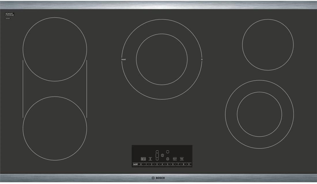NET8668SUC 36 Electric Cooktop with 5 Elements 17 PreciseSelect Temperature Settings Automatic Shut Off Timer Bridge Element SpeedBoost Heat Indicator and Stainless Steel Frame