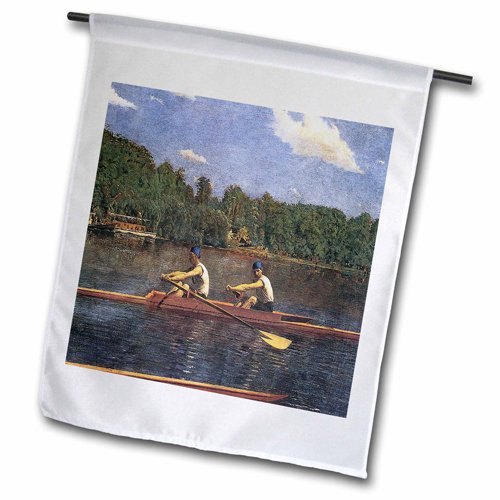 3dRose fl_130153_2 The Biglin Brothers Racing by Thomas Eakins Garden Flag, 18 by 27