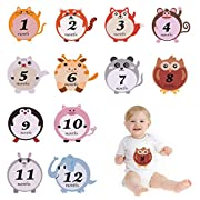 EMiEN 12 Pack NewBorn Baby Monthly Stickers,Boy/Girl Animal Sticker Monthly Age Stickers Photo Props for Unisex Baby First Year Growth, Baby Milestone Onesie Stickers, Bodysuit Belly Stickers