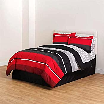 Red Black White Gray Rugby Boys Queen Comforter, Skirt and Sheet Bedding Set (8 Piece Bed in a Bag)