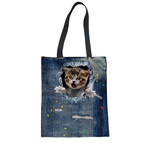 Blue Tote Girls Animal 8 Linen cat Denim Women Showudesigns Bag Shoulder Hand Bag Zq15xwY