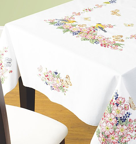 "Birds & Butterflies Tablecloth - 52"" x 70"" Stamped Cross Stitch and Embroidery Kit"
