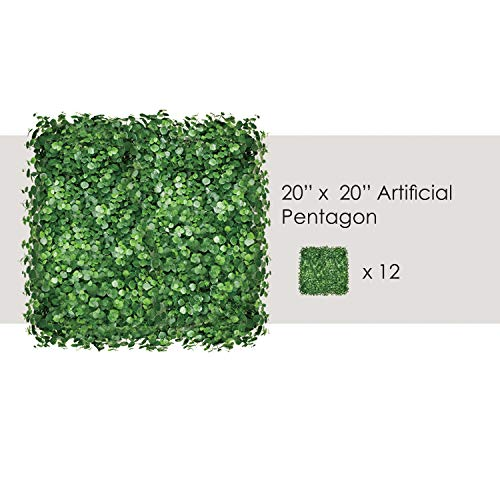 "ECOOPTS 20"" x 20"" Artificial Boxwood Hedge Fence Privacy Screen Greenery Pentago Panel for Outdor Indoor Backyard Garden Privacy Fence Ivy Screen Decoration from ECOOPTS"