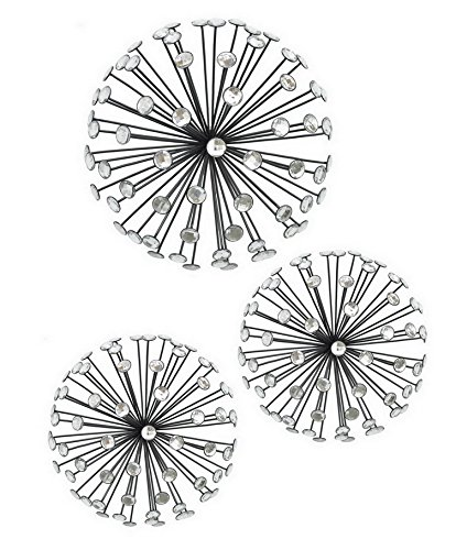 Jewel Black Metal 3-D Starburst Wall Art, Set of 3, 12 Inches to 9 Inches Wide Each  wall art 9 pieces | Anderson Silva vs Vitor Belfort (Custom 9-Piece Wall Art) 51YH9shMZIL