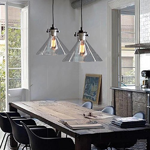 BuyeeR Vintage Industrial Edison Classic Funnel Glass Shade Dinning Room Hanging Pendant Light Fittings Amazoncouk Lighting