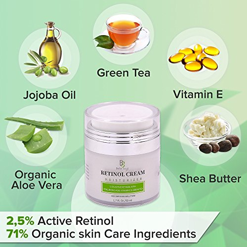 51YHA%2BRSFlL - Retinol Moisturizer Anti Aging Cream for Face and Eye Area - With Hyaluronic Acid - 2.5% Active Retinol - Vitamin E - Reduce Appearance of Wrinkles and Fine lines - Best Day and Night Face Cream