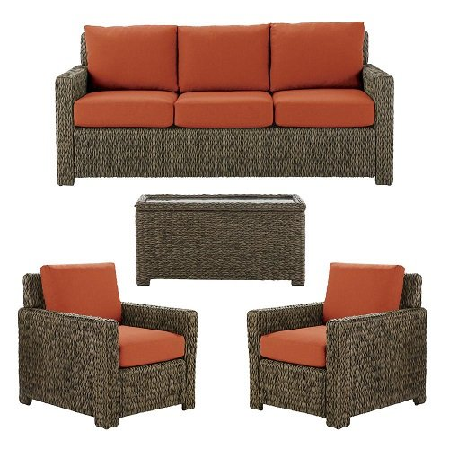 Hampton Bay Laguna Point 4-Piece Brown All-Weather Resin Wicker Patio Deep Seating Set with Quarry Red Cushion (Bay Hampton Chairs Resin Wicker)