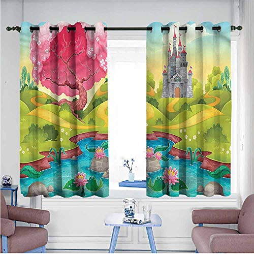 Mdxizc Bedroom Windproof Curtain Kids Fantasy Countryside Landscape Children's Bedroom Curtain W55 xL45 Suitable for Bedroom,Living,Room,Study, etc.
