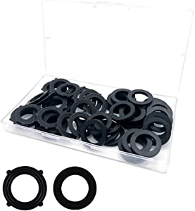 """50PCS Garden Hose Washer Rubber Washer, Two Style Types of Black Rubber Washer, for All Standard 3/4"""" Garden Hose and Water Faucet Fittings"""