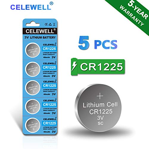 【5-Year Warranty】 CELEWELL 5-Pack CR1225 3V Lithium Battery for Thermometer Watch CR 1225