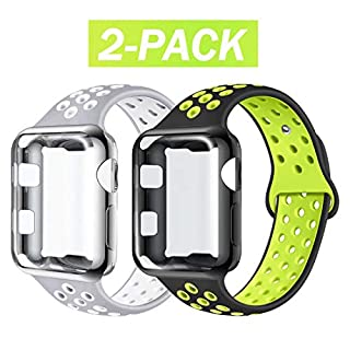 ADWLOF Compatible with Apple Watch Band with Case 38mm, Silicone Replacement Strap with Screen Protector Cover for Wristband for iWatch Series 3/2/1,Nike+,Sport,Edition,S/M,M/L,BlackVolt/SilverWhite